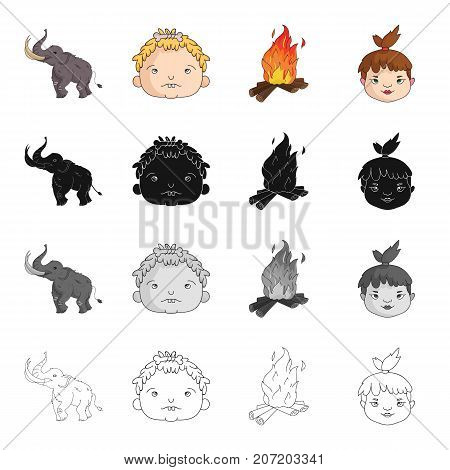Century, history, study and other  icon in cartoon style. Homo, sapiens, people, icons in set collection