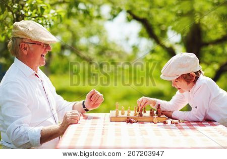 Happy Grandpa And Grandson Playing Chess In Spring Garden