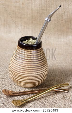 yerba mate with accesories. traditional latin american drink