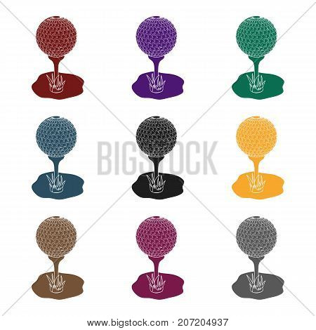 Golf ball on the stand.Golf club single icon in black style vector symbol stock illustration .