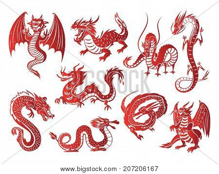 Chinese asia red dragon silhouettes on white background vector illustration. Tattoo mythology tail monster magic icon asian art. Medieval fantasy animal mystic symbol vector set.