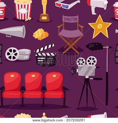 Cinema movie making TV show equipment tools symbols icons vector set illustration. Isolated entertainment design camera sign. Director cinematography hollywood seamless pattern background