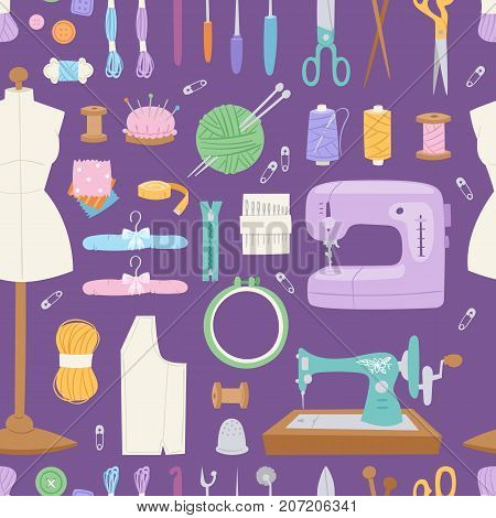 Thread supplies embroidery fancy-work fine needle-work hobby accessories for sewing equipment and sewing-machine tailoring fashion pin craft needlework. Collection seamless pattern background