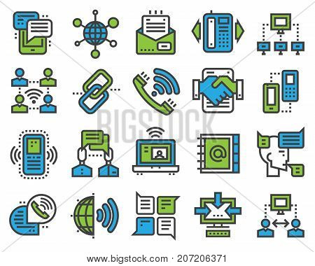 Communication sotial thin outline icons media internet web network communicate vector illustration. Connection of group business people