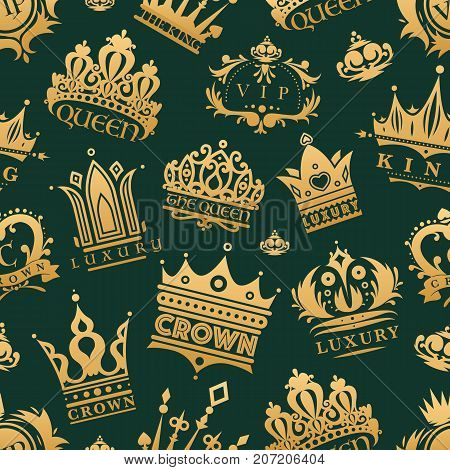 Gold crown of the king icon set nobility majestic collection insignia and imperial prince vintage jewelry kingdom queen royal classic sign vector illustration. Royalty seamless pattern background