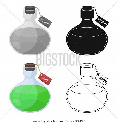 The poison is in a vessel with a label. Poisoned liquid single icon in cartoon style vector symbol stock illustration .