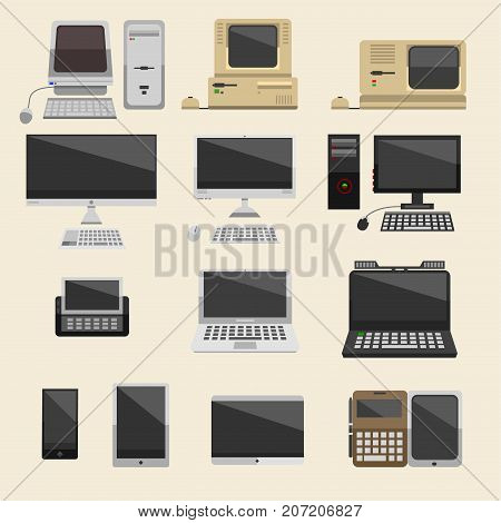 Computer desktop technology vector isolated display. Telecommunication equipment metal pc monitor frame modern office network. Laptop device electronic space.