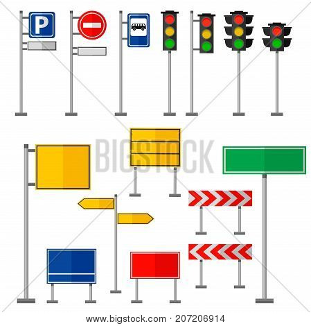Road signs and symbols traffic signs graphic elements isolated city construction creative street highway information vector illustration. Caution stop signpost message frame.