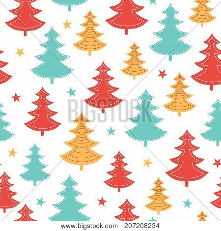 Vector green, yellow, red scattered christmas trees winter holiday seamless pattern. Great for fabric, wallpaper, packaging, giftwrap. Surface pattern design.