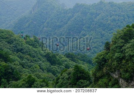 View of Wudang mountain view from the cable car. taken to the top of this hill, That's a Golden temple. Hubei Province, china