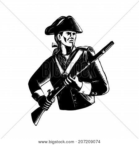 Scratchboard style illustration of an American Patriot holding musket rifle done on black and white scraperboard on isolated background.