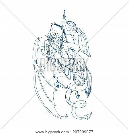 Drawing sketch style illustration of St. George riding horse steed about to Slay Dragon with spear on isolated background.