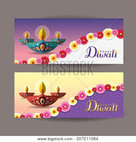Diwali or Deepavali banner template design. Beautiful burning diwali diya (india oil lamp) and flowers. Festival of Lights celebration vector illustration.