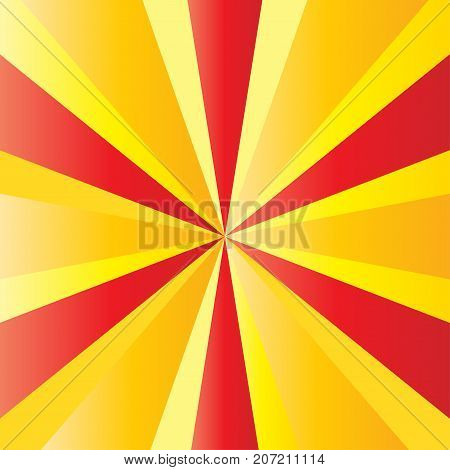 Sunrise background of Catalonia national flag red and yellow color striped banner. Shine star burst texture. Sunburst, rays, patriotic background, abstract poster template vector.
