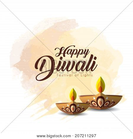 Diwali or Deepavali greetings template with beautiful burning diwali diya (india oil lamp) on brown watercolor background. Festival of Lights celebration vector illustration.