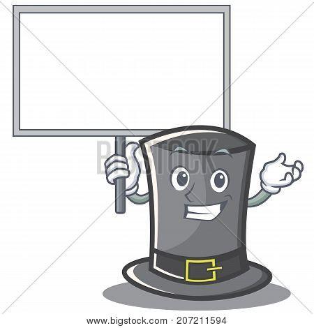Bring board Thanksgiving hat character cartoon vector illustration