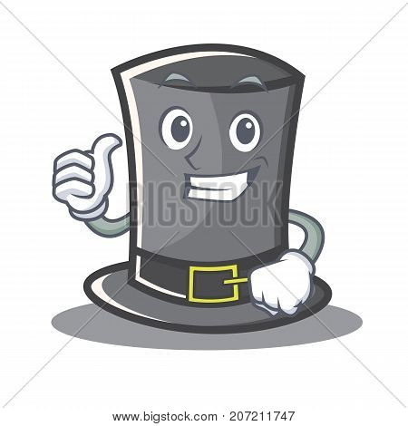 Thumbs up Thanksgiving hat character cartoon vector illustration