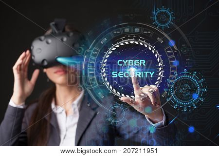 Young Businesswoman Working In Virtual Glasses, Select The Icon Cyber Security On The Virtual Displa