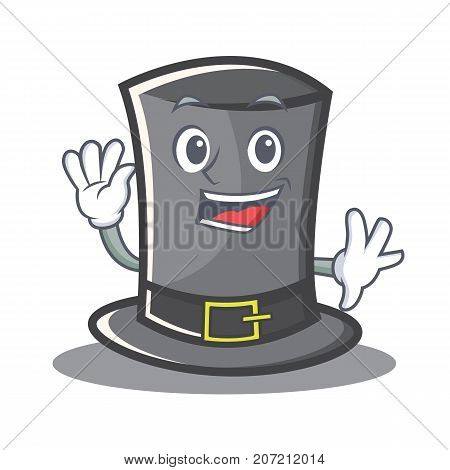 Waving Thanksgiving hat character cartoon vector illustration