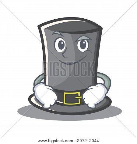 Smirking Thanksgiving hat character cartoon vector illustration