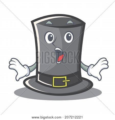 Surprised Thanksgiving hat character cartoon vector illustration
