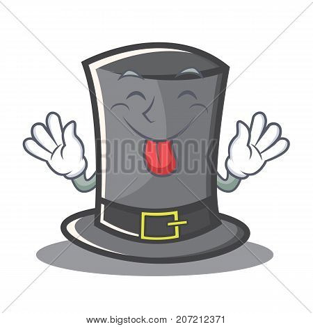Tongue out Thanksgiving hat character cartoon vector illustration