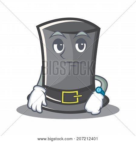 Waiting Thanksgiving hat character cartoon vector illustration