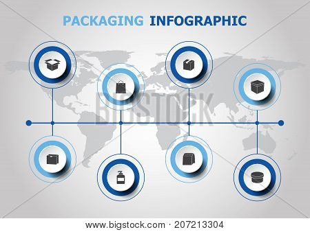 Infographic design with packaging icons, stock vector