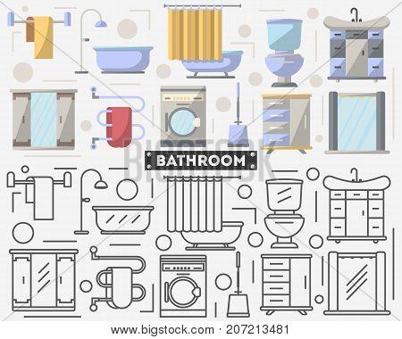 Bathroom Furniture Set Flat Style Vector Photo Bigstock