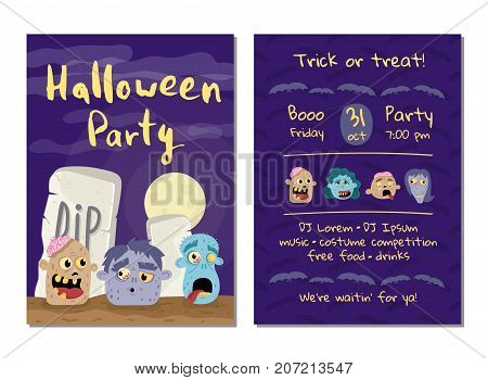 Halloween party invitation with zombie heads in graveyard at full moon. Halloween event advertising with funny undeads, festive cute carnival poster. Walking dead in cemetery vector illustration.