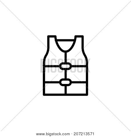 Life jacket flat icon. Single high quality outline symbol of summer for web design or mobile app. Thin line signs of swiming for design logo, visit card, etc. Outline logo of diving