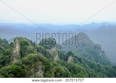 The Wudang MountainsHubei China. Many Taoist monasteries to be found thereIt's world heritate and famous in one of China. good weather sometime it a lot of the fog. It's specially name.
