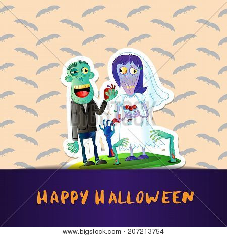 Happy Halloween poster with cute zombie wedding couple in graveyard. Halloween event advertising with funny undead, festive carnival poster. Monsters marriage in cemetery vector illustration