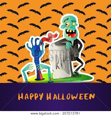 Happy Halloween poster with cute zombie and monster hands in graveyard. Halloween event advertising with funny undead, festive carnival poster. Walking dead man character vector illustration