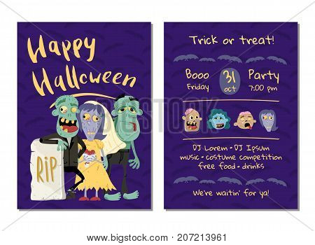Halloween party invitation with funny zombies in graveyard. Halloween event advertising with scary undeads, festive cute carnival poster. Walking dead characters in cemetery vector illustration.