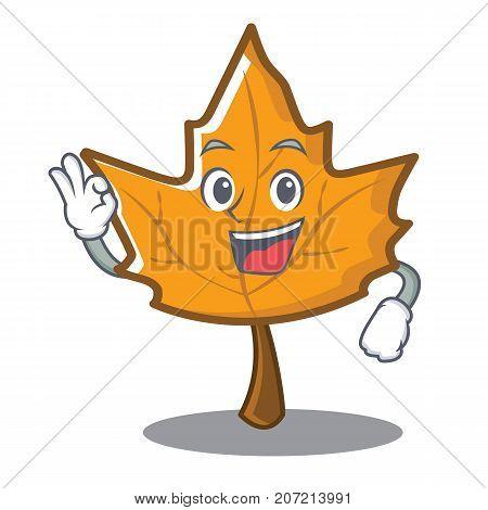 Okay maple character cartoon style vector illustration