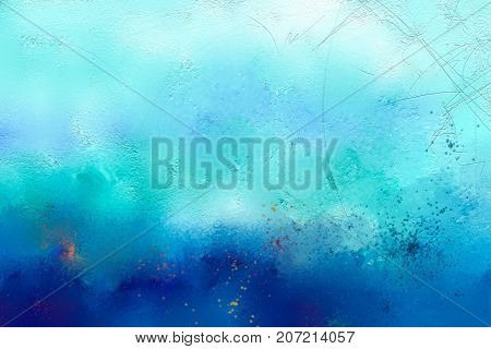 Abstract colorful oil painting on canvas texture. Hand drawn brush stroke oil color paintings background. Modern art oil paintings with green and blue color. Abstract contemporary art for background