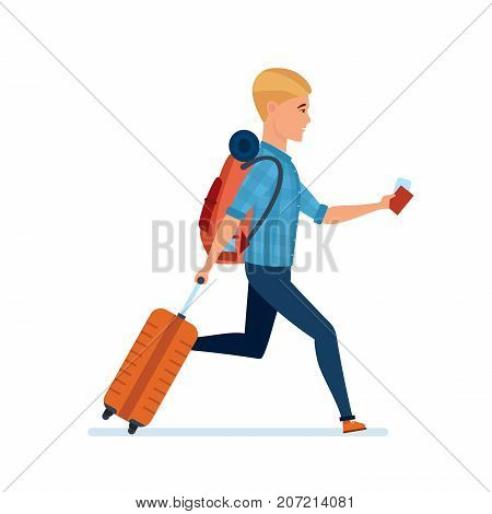 Character person tourist man. Adventure travel. Summer vacation. Young man traveler with luggage and documents in hands, hurry after rest to home. Healthy lifestyle. Illustration in cartoon style.