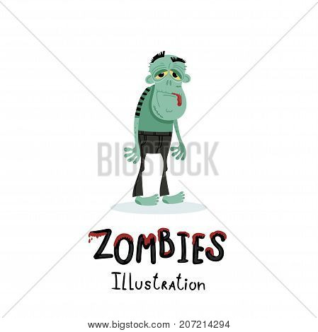 Cute green zombie character in cartoon style. Halloween undead banner, horror monster personage, zombie apocalypse concept, cute walking dead man isolated on white background vector illustration.
