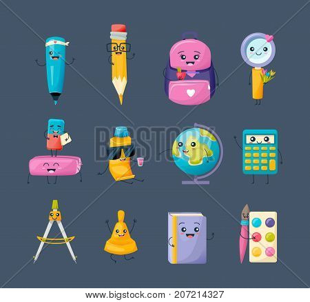 Set of school funny office supplies characters. Back to school concept. Merry education set: marker, pencil, backpack, magnifier, erasers, tube with glue, globe, calculator. Vector illustration