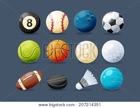 Set of modern sports equipment: ball for billiards, golf and bowling, balls for baseball, football, tennis, basketball, volleyball, rugby, water polo, washer and shuttlecock. Vector illustration