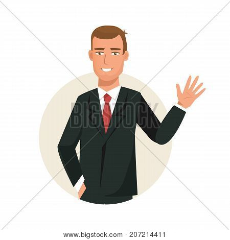 Businessman working cartoon character person in office work situations. Man, office worker in office clothes, gestures with hand, is dressed in beautiful business suit. Vector illustration.