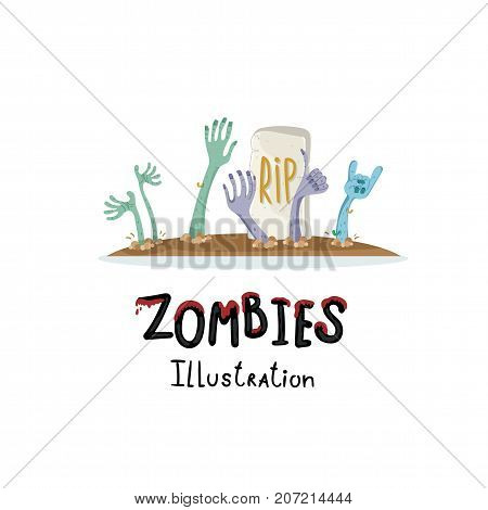 Undead arises on cemetery poster in cartoon style. Zombie hands sticking out from ground, horror monster, zombie apocalypse concept, walking dead isolated on white background vector illustration.
