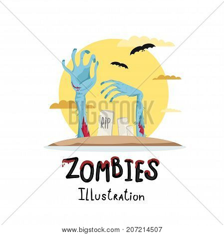 Halloween poster with zombies hands in graveyard. Undead arises on cemetery poster, horror monster, zombie apocalypse concept, walking dead isolated on white background vector illustration.
