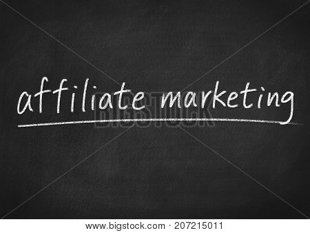 affiliate marketing concept words on a blackboard background