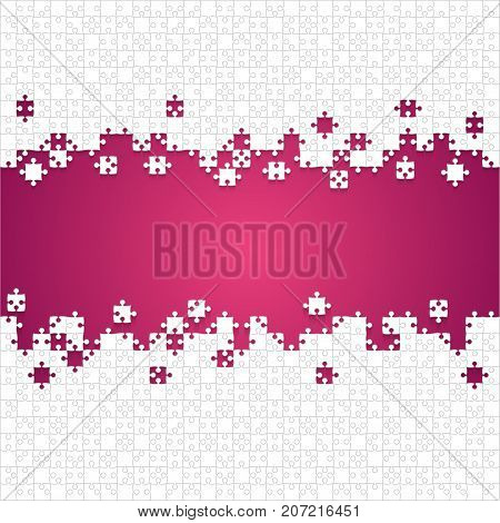 Some White Puzzles Pieces in Pink Background - Vector Illustration. Scattered Jigsaw Puzzle Blank Template. Vector Background.