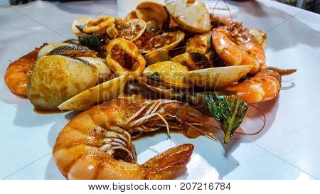 Seafood in the form of Thai Dried Tom Yum