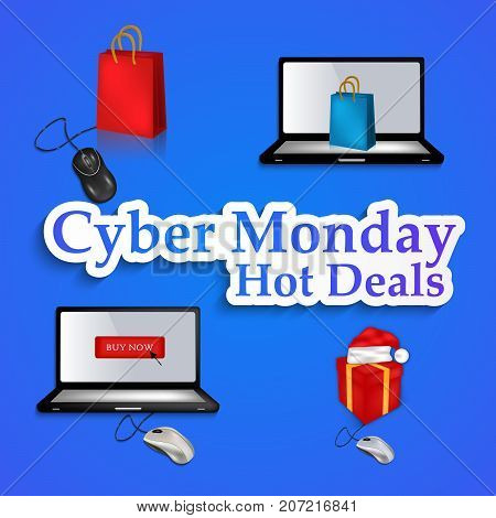 illustration of computer, mouse, and shopping bag with Cyber Monday Hot Deals text on the occasion of Cyber Monday