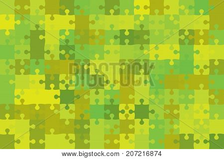 Green 150 Puzzles Pieces Arranged in a Rectangle - Vector Illustration. Jigsaw Puzzle Blank Template. Vector Background.
