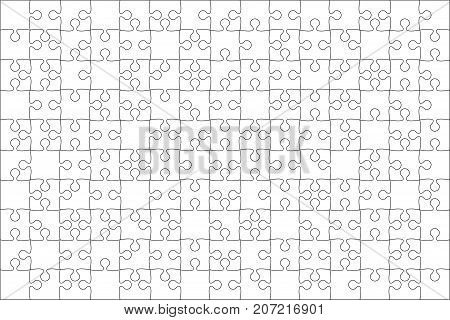 150 White Puzzles Pieces Arranged in a Rectangle - Vector Illustration. Jigsaw Puzzle Blank Template. Vector Background.